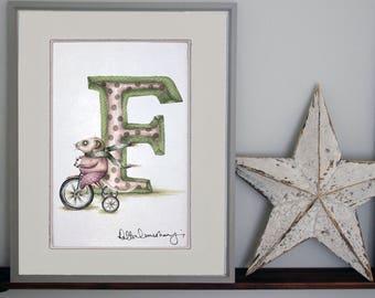 Personalised letter print F - custom Illustrated alphabet - Mounted children's illustration - Original hand drawn alphabet print - Wall art