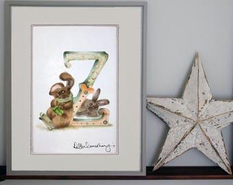Personalised letter print Z - custom Illustrated alphabet - Mounted children's illustration - Original hand drawn alphabet print - Wall art