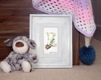 Mounted personalised letter R - custom Illustrated alphabet - Children's illustration - Original hand drawn alphabet print - Baby gift