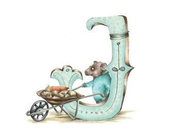 Personalised letter print J- Mounted custom Illustrated alphabet  - Children's illustration - Original hand drawn alphabet print - Baby gift