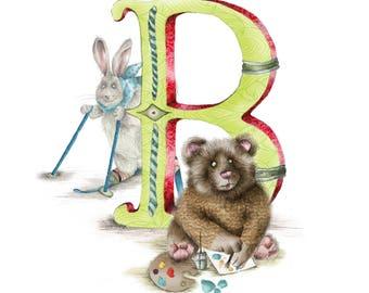 Mounted personalised letter B - custom Illustrated alphabet - Children's illustration - Original hand drawn alphabet print - Baby gift