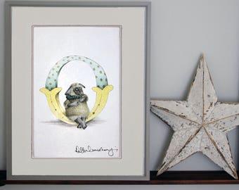 Customised alphabet print O -personalised Illustrated letter - Children's illustration - Original hand drawn alphabet print - nursery wall