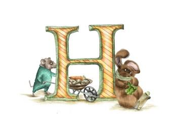Customised alphabet print H -personalised Illustrated letter - Children's illustration - Original hand drawn alphabet print - nursery wall