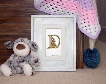 Mounted personalised letter D - custom Illustrated alphabet - Children's illustration - Original hand drawn alphabet print - Baby gift
