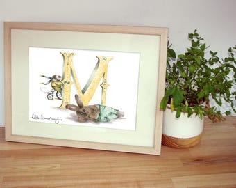 Personalised alphabet print - Custom mounted Illustrated letter M - Children's illustration - Original hand drawn print - Unique wall art -