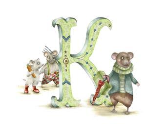 Mounted personalised letter K - custom Illustrated alphabet - Children's illustration - Original hand drawn alphabet print - Baby gift - art