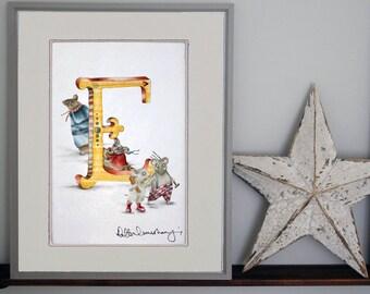 Personalised children's letter E- custom Illustrated alphabet - Mounted illustration - Original hand drawn alphabet print - Nursery wall art