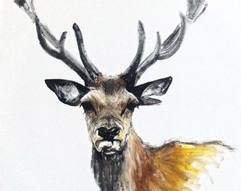 Original Stag Painting on Canvas by Rachel Joyner