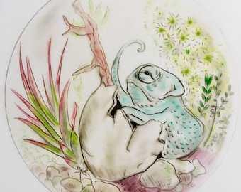 Chameleon Terrarium Print