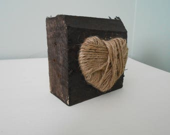 Rustic Twine Heart Wood Block Tabletop Decor