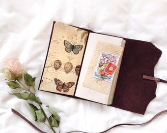 Leather Notebook/ Journal with Botanical Nature