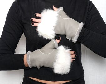 Sheepskin Fingerless  Fur One Size