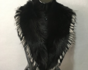 Elegant Black with Silver  Fox Fur Collar