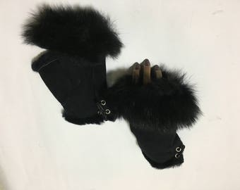 Sheepskin Fingerless Full Black One Size