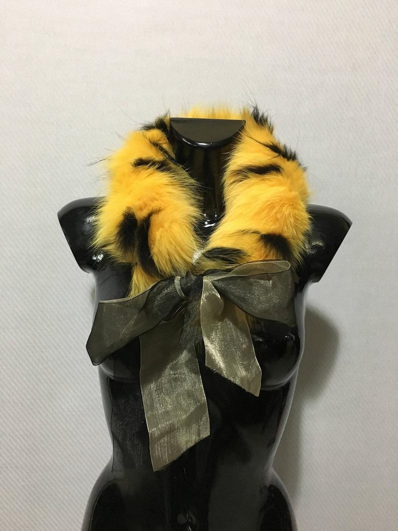 Genuine Real Yellow-Black Color Fox Fur Small Collar
