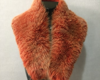 Elegant Orange  Fox Fur Collar
