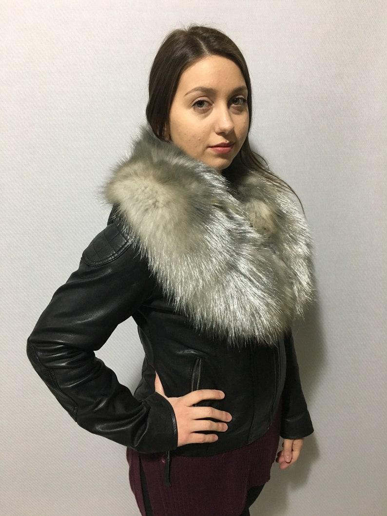 Gorgeous Metallic Gray  Fox Fur Collar