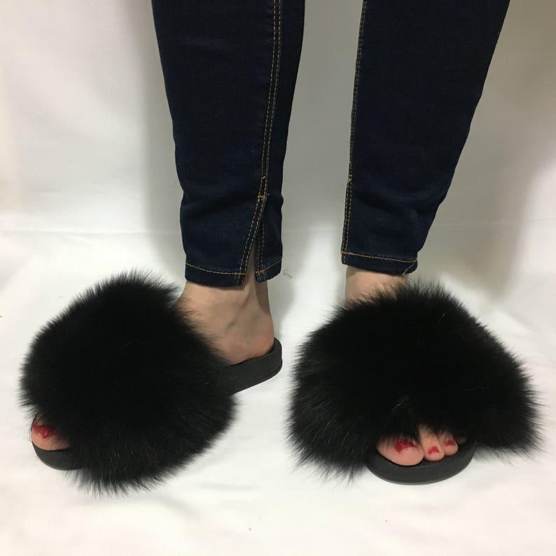 b6a7b8168b3 Fur Slides Black Fox Fur Slides Fur Slippers Fox Fur