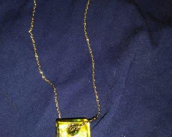 Minimal  Reversible Pendant on Necklace