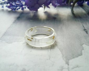 Dandelion wish ring, wishes jewellery, gift for her, dandelion seeds in resin, band rings, real flower jewellery, unique boho gifts ladies