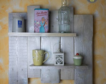 Mother-of-pearl pallet shelf, creative recycling, wooden shelf, housewares, home decor