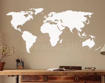 World map decal wall decal matt vinyl or dry erase or world map wall decal world map decal matt vinyl dry erase chalkboard removable decor gumiabroncs Gallery