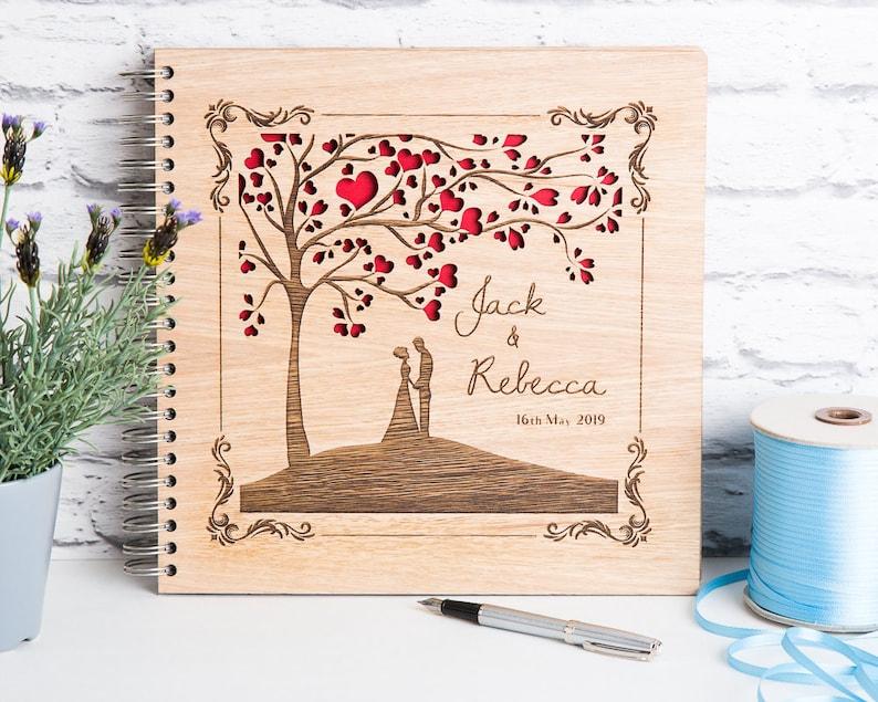 Wedding Guest Book Wedding Tree Book Wedding Album Wooden image 0