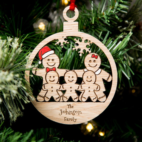 Christmas Decorations.Christmas Decorations Personalised Christmas Bauble Wood Engraved Xmas Ornament Gingerbread Family
