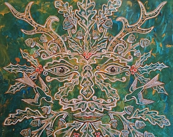 """Father Nature- Print of the """"Greenman of the Winter"""" Painting by Bronwen Valentine"""