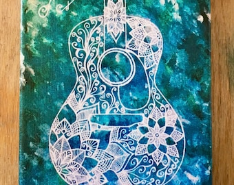 Guitar- Print on Canvas of the Songs of our Father Painting by Bronwen Valentine- Signed by the Artist and Ready to Hang