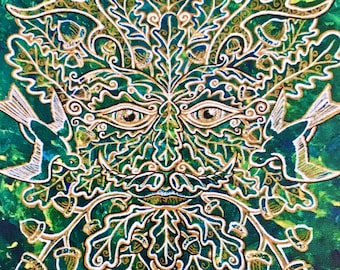 """Greenman- Print on Canvas of the """"Greenman of the Summer"""" Painting by Bronwen Valentine- Signed by the Artist and Ready to Hang"""
