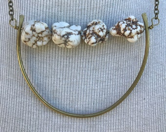 Magnesite brass bar necklace