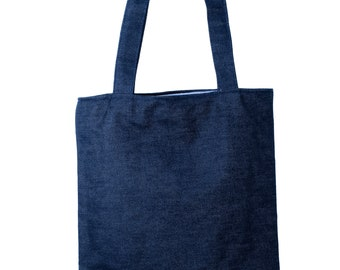 Dry Denim Tote Bag Lined With Blue And White Stripes Featuring Easy To Store Inside Pocket