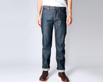 Japanese Selvedge Denim - Mid-Rise - Fitted Straight Leg - Modern Slim - Unbranded - Button Fly - Mens - Womans - Unisex - Boyfriend Jeans