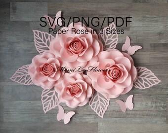 SVG/PDF Paper Flower Rose Template  Pdf Flower Template Svg Rose Template Wedding Decor Party Decor Christmas Paper Flower Backdrop