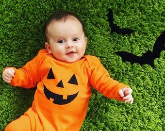 halloween romper pumpkin sleepsuit baby pumpkin outfit baby halloween outfit baby pumpkin romper baby halloween sleepsuit