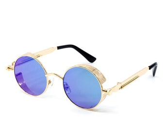d2052da4698 Blue Gold Steampunk Sunglasses Urban Hipster 2019 Vintage Style