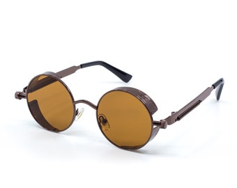 203a36c3fd8 Brown Steampunk Sunglasses Urban Hipster 2019 Vintage Style