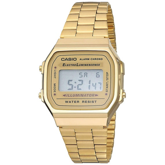 Casio A168WG 9EF Men's Vintage Gold Metal Band Illuminator Chronograph Alarm Watch