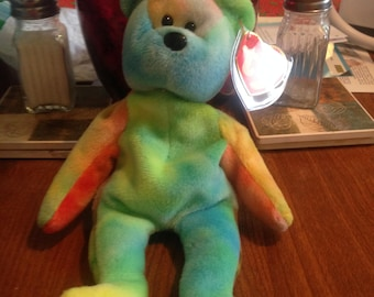 a9059d6f642 Very Rare Beanie Baby Garcia the Bear with beautiful blue face and pastel  colors 4th 3rd GEN tags