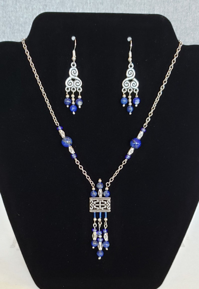 Lapis lazuli handmade necklace and earrings