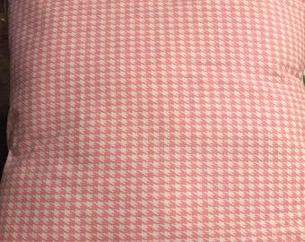 Pink white houndstooh 18x18 pillow