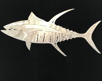 Aluminum metal art Yellow fin Tuna any size! Great Christmas gift
