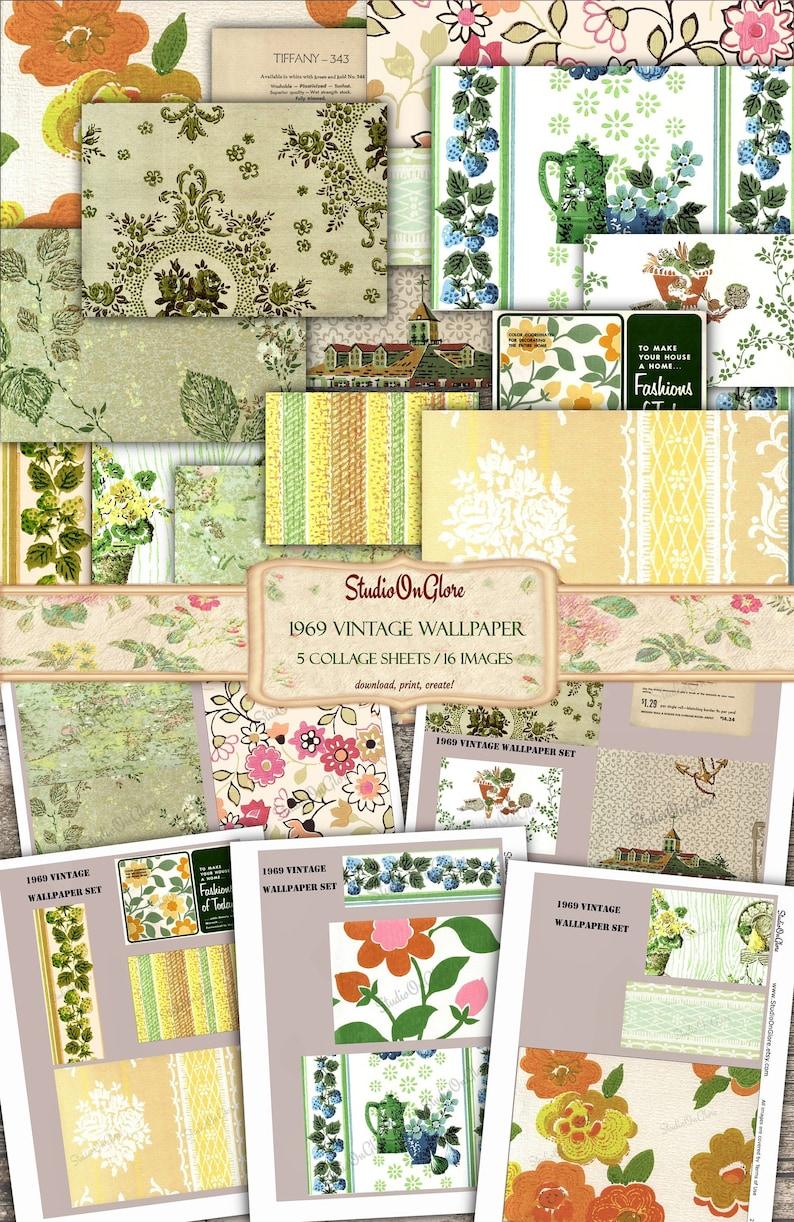 Five sheets with 17 old wall covering images Decoupage Scrapbooking DIY Cards Ephemera for Junk Journals Vintage 1960/'s Wallpaper Set