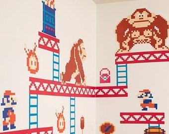 Donkey Kong Decal Nintendo Wall Decal Donkey Kong Sticker Donkey Kong Decor  Game Room Decal