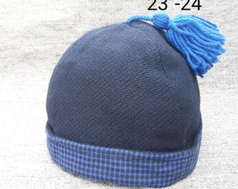 Navy Wool & Cotton Round Cap