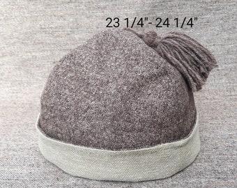 Brown Wool & Cotton Round Cap