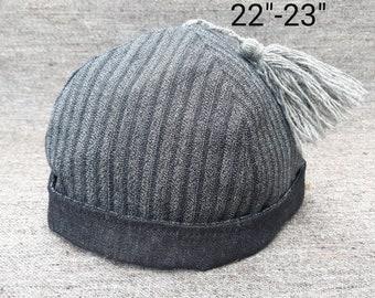 Gray Wool & Cotton Round Cap
