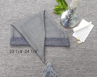 Gray Wool & Cotton Sleeping Cap
