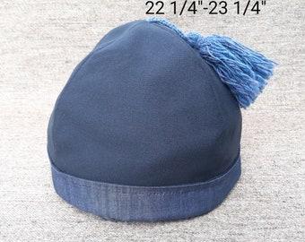 Navy Blue Wool & Cotton Round Cap